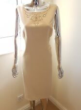 New Planet Ladies Sleeveless Special Occasions Dress In Oatmeal Colour Size 18