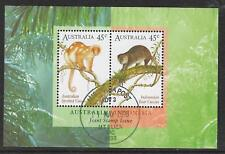 AUSTRALIA 1996 INDONESIA JOINT ISSUE CUSCUS SOUVENIR SHEET CTO/USED