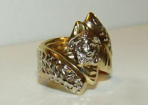 FAB, VINTAGE, ITALIAN 14 CT GOLD DIAMOND CUT MEDUSA RING