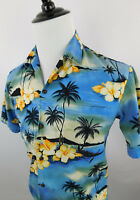 Winnie Fashion Men's Hawaiian Short Sleeve Floral Shirt Blue size Medium  Cotton