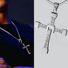 Best Fashion Mens Silver Cross Pendant Long Chain Crystal Jewelry Necklace UK