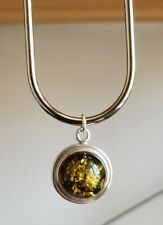 Green Amber Ball 925 Sterling Silver Pendant - 4g