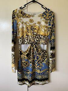 Mika And Gala Waist Cut Out Baroque Print Party Mini Bodycon Dress Sz 12