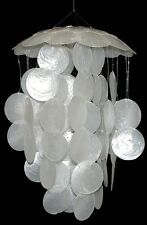 "Capiz Seashell Wind Chime Natural Large 2"" Shells White Nautical Coastal Decor"