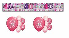 40th BIRTHDAY PARTY PACK DECORATIONS BANNER BALLOONS (SE.P.2)
