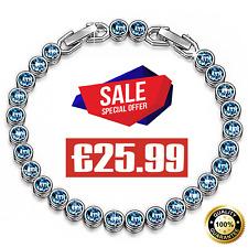 Susan Y Ballad for Adeline,Swarovski Crystal Aquamarine Tennis Bracelet Extender