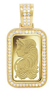 24K Yellow Gold Lady Fortuna 10 grams Bar Diamond 1 Row Frame Pendant 1.25 Ct