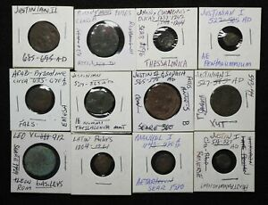 BYZANTINE. Lot of 12 assorted ancient coins in holders, Ex. CNG