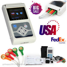 USA Portable 3 leads 24H ECG EKG Holter Analyze System Recorder software Monitor