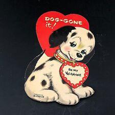 Vtg 1940s - 1950s Valentines Card Dalmatian Spotted Dog Ephemera Made Usa Puppy