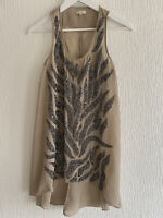 NUDE SEQUIN LONG TOP 8  RIVER ISLAND HOLIDAY BEACH WORK SUMMER EVENT PARTY GLAM