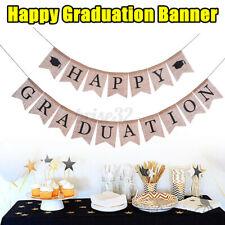 Burlap Happy Graduation Banners Grad Bunting Garland Party Decoration Supplies