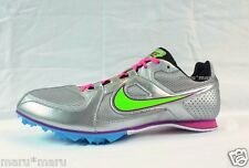 Womens Nike Rival MD 6 Sprint Track Shoes sz 9.5 Silver/Pink/green running 1500m