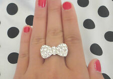 CLEAR CRYSTALS BIG BOW RING HOT BUY!!