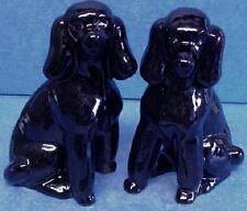 QUAIL CERAMIC BLACK POODLE DOG SALT & PEPPER POTS CRUET OR CONDIMENT SET