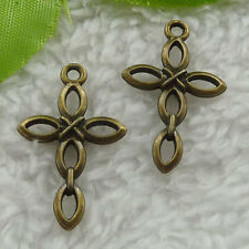 Free Ship 140 pcs bronze plated cross charms 28x17mm #2523