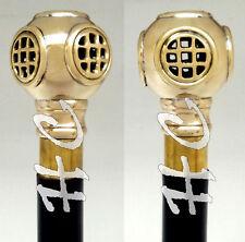 Deep Sea Diving Helmet Walking Stick Nautical Brass Handle Black Wooden Cane