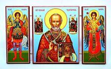 Triptich Ikone heiliger Nikolay икона святой Николай чудотворец освящена 21x12x1