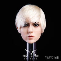 1/6 YMtoys YMT016B White Short Hair Beauty Girl Head Carving F 12'' Figure Doll