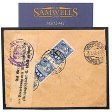 MS3441 1922 LATVIA Registered *Riga*RAILWAY STATION Prussia GERMAN PO LABEL SEAL