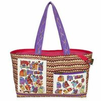 Karly's Colorful Cats Laurel Burch Large Canvas Purse Shoulder Tote Bag Handbag
