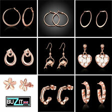 Cubic Zirconia Rose Gold Plated Hoop Costume Earrings
