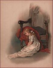 GIRL IN WHITE DRESS BY CHAIR, antique chromolithograph, original 1891
