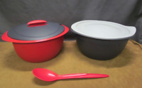 Tupperware Open House 4.3L Large Insulated Oval Server Bowl Spoon Black Red New