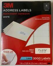 "New 3M 3000 Address Labels White Laser Permanent Adhesive 3100-B 1"" x 2 5/8"""