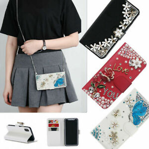 Bling Flip Wallet Leather Stand Women Phone Case With Crossbody Strap for Google