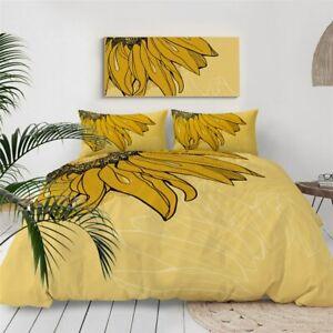 Yellow Floral Sunflower Summer King Queen Twin Quilt Duvet Pillow Cover Bed Set