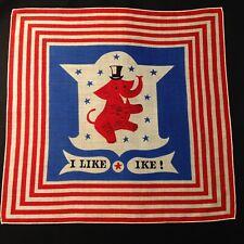 "#5808🌟Vintage '52 Tammis Keefe 🇺🇸""I LIKE IKE"" Political GOP Handkerchief #2"