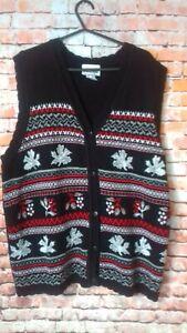 national black christmas cardigan size xl armpit to armpit 22 inches sleeveless