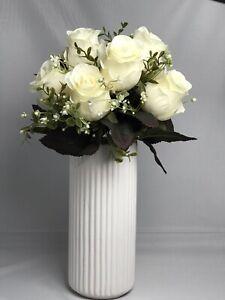 Moderne Blumenvase Keramik Vase Tischdeko Blumenschale weiß 24cm