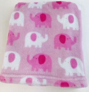 Garanimals Pink White Elephants Baby Blanket Security Lovey Plush Fleece F3