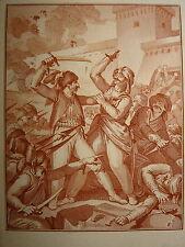 Gravure XVIII SANGUINE HISTOIRE RUSSIE RUSSIA MONNET AZOV Азов COSAQUES OTTOMAN