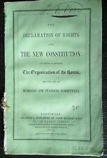 (BALTIMORE)  THE DECLARATION OF RIGHTS AND THE NEW CONSTITUTION. 1851 24pp wraps