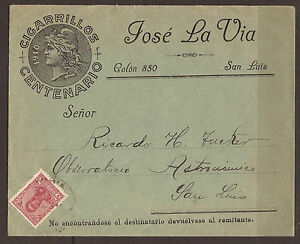 ARGENTINA. 1911. COMMERCIAL COVER. ADDRESSED TO ASTRONOMICAL OBSERVATORY. SAN LU