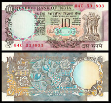 NDIA 10 RUPEES 1985-1990 P 81 F SIGN 85 UNC With Pin Holes Signed R N Malhotra