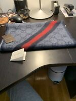 GUCCI blue & navy GG WEB detail NIKKY Angora blend fringe scarf NWT Authent $450