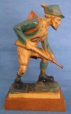 Vintage Anri Tallado Hombre Hunter Cazador Alpine Estatuilla De Ropa