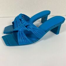Mercedes Castillo Womens Calisse Sandal Block Heels Blue Leather Slip On 6.5 New