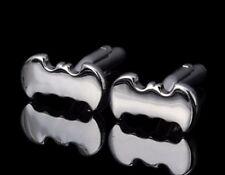 Silver Tone Batman Shape Cufflinks cuff links Bat Man 2D SLV Hero Tie Clip