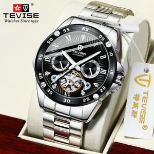 TEVISE Automatic Mechanical Watch Stainless Steel Luminous 3ATM Waterproof F2Z5