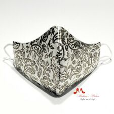 Silver Black 3 Layers Paisley Reusable Face Cover Washable Fabric Face Mask - M