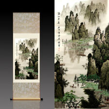 Chinese Silk Scroll Painting Lijiang River Home Office Decoration(漓江早春)
