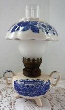 GWTW Style Ceramic Miniature Oil Lamp Clear Chimney Skirt Blue & White Handled