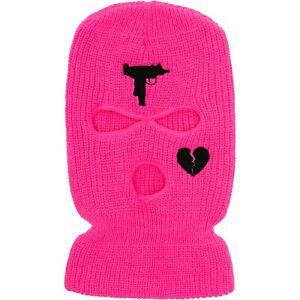 Prolific Pink 100% Acrylic Uzi Ski Beanie Embroidered Winter Face Mask