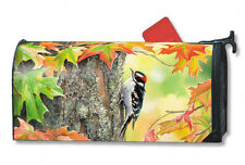 """AUTUMN FALL WOODPECKER ON TREE MAILBOX COVER MAGNETIC 1"""" NUMBERS FALL HOME DECOR"""