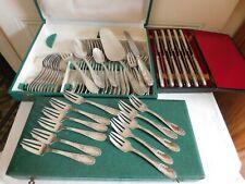Ménagère 60 pièce couvert couteaux service à gâteau métal argenté style Marly EB